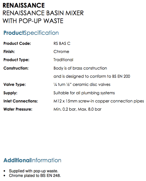 Bristan - Renaissance Basin Mixer Specifications