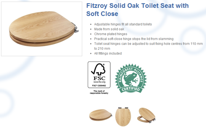 Croydex Sit Tight Fitzroy Solid Oak Toilet Seat with Soft Close