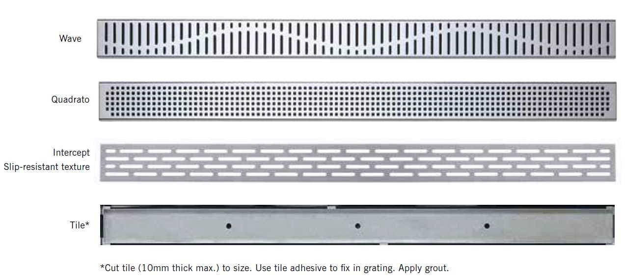 Grating Selection ACO Shower Channel System fir Tiled Flooring