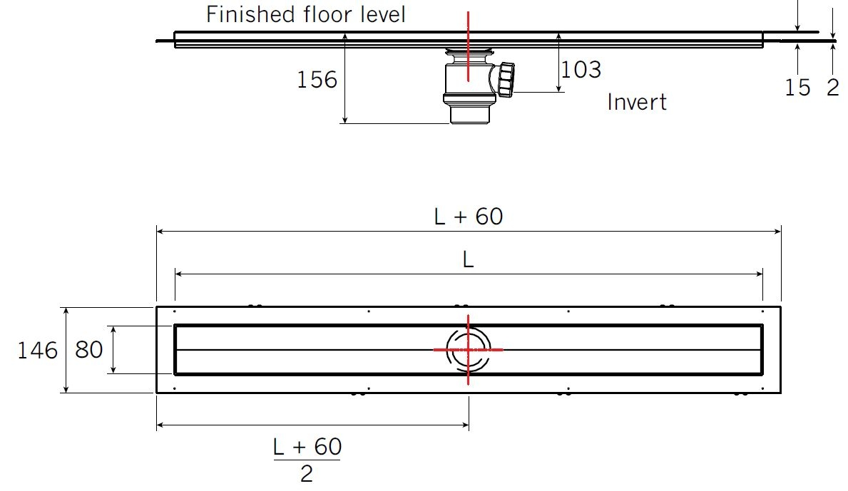 Aco Shower Channel System  Tech Drawing