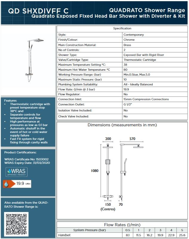 Bristan Quadrato QD SHXDIVFF C Shower with dual outlet spec