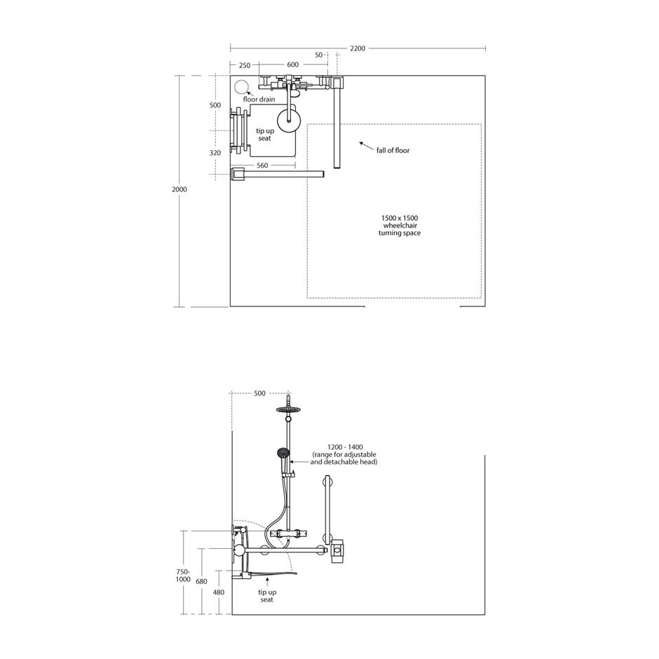 Shower pack s6407aa technical drawing