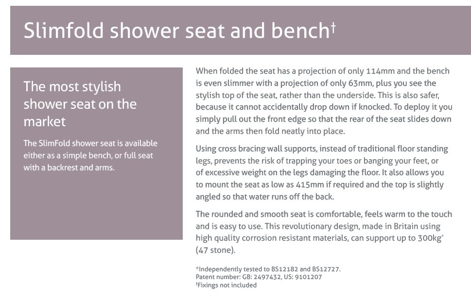 Impey slimfold shower seat and bench description