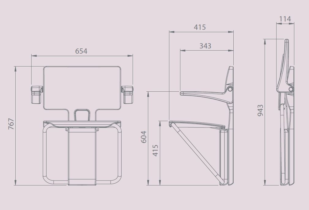 Impey slimfold shower seat dimensions