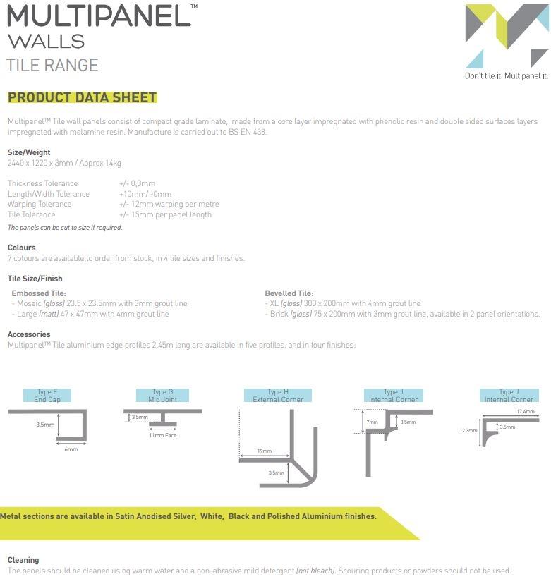 Multipanel Tile Panels Specs