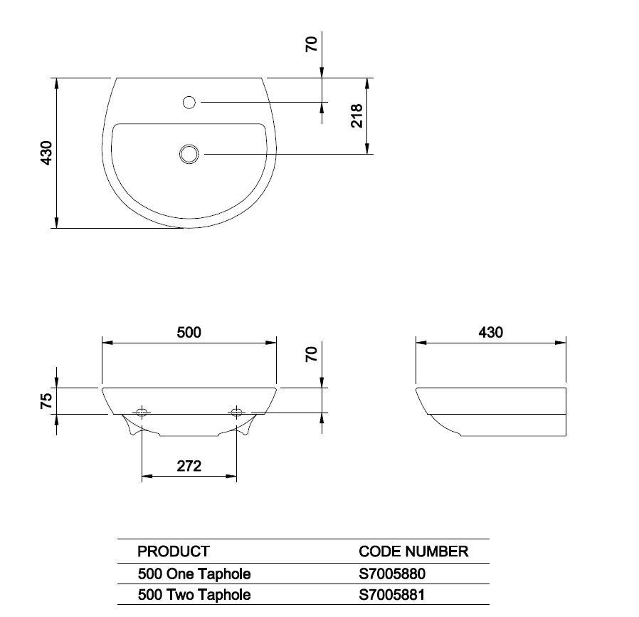 Eclipse 500 wm washbasin Technical Drawing