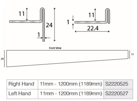 N AND C Premier Infinity S2220527 S2220525 Shower Deck 1200mm Profile Dimensions