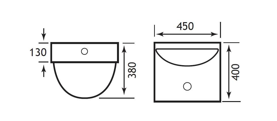 Mezzano 450mm Wall Hung Basin TECHNICAL DRAWING
