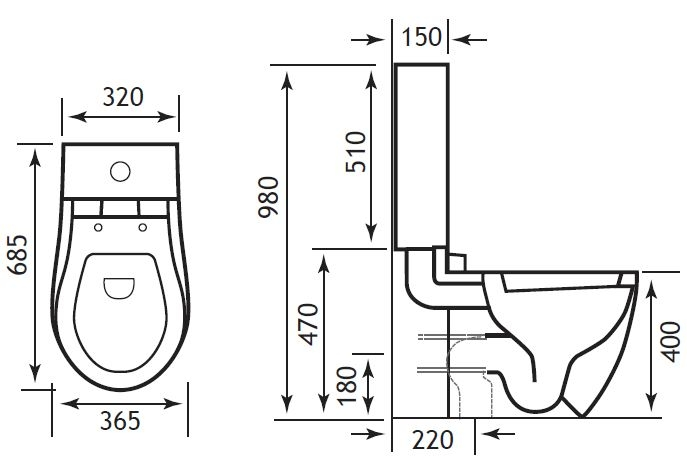 Perlita WC Pan, Cistern and Seat Technical Drawing