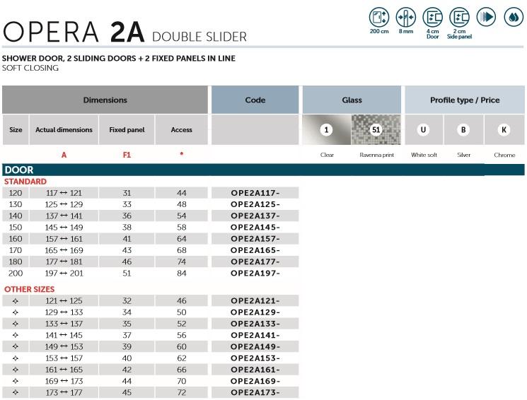 Novellini Opera 2A Double Slider Shower Screen Spec 1
