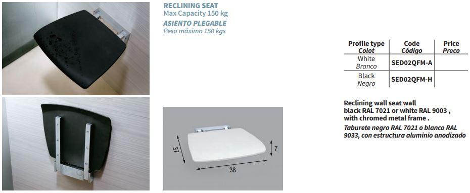 Novellini Shower Seat SED02QFM-A WHITE SPEC