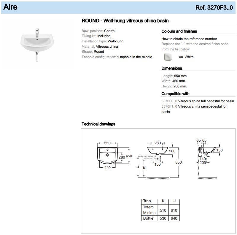 Roca 550mm round Aire Basin spec 3270F3