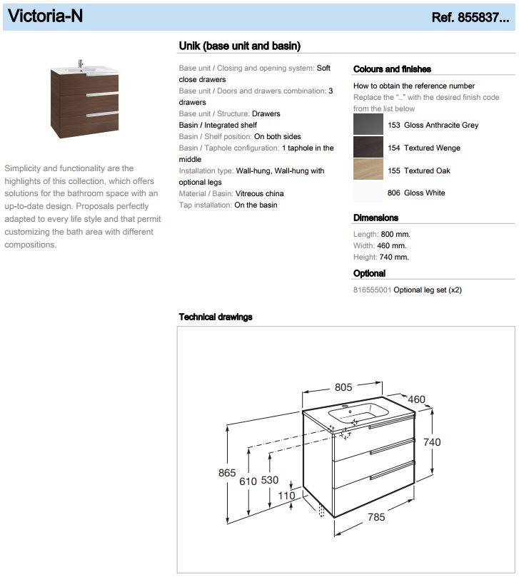 Roca 855837 Victoria N 3 drawer unit 800mm spec