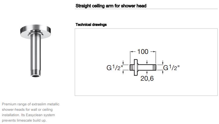 Roca Ceiling Shower Arm 100mm 5B0450C00 rainsense raindream spec