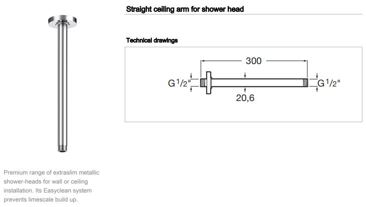 Roca Ceiling Shower Arm 300mm 5B0650C00 rainsense raindream spec