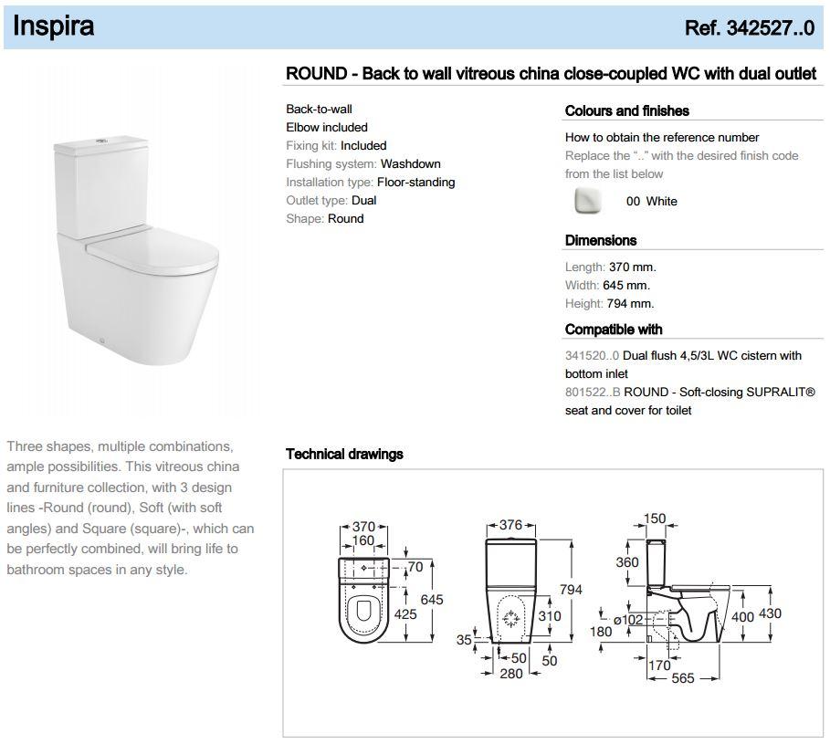 Roca In-Wash Wc Spec Sheet