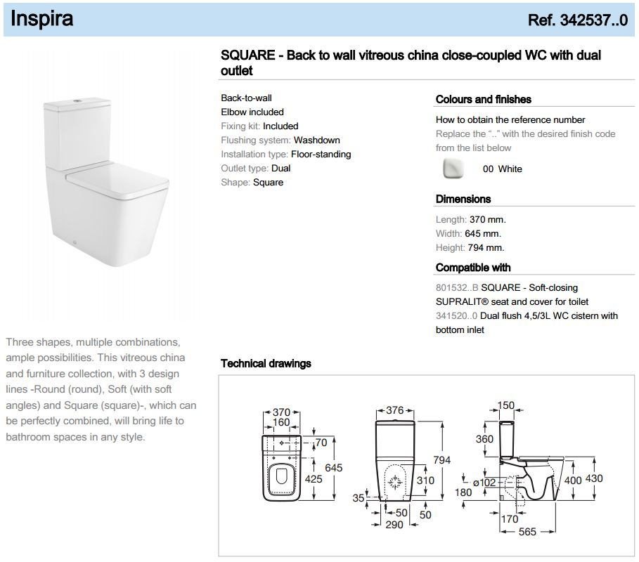 Inspira Square Btw Close Coupled Wc Toilet With Dual Outlet