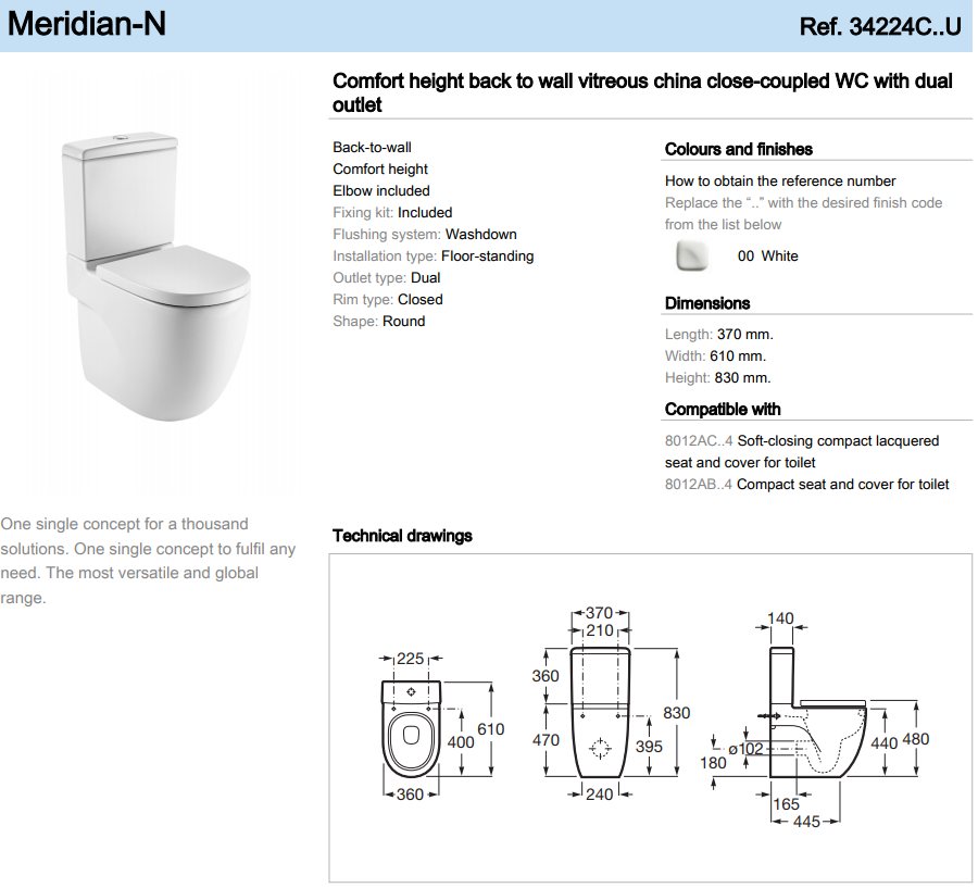 Roca Meridian N Comfort height close-coupled WC 370mm
