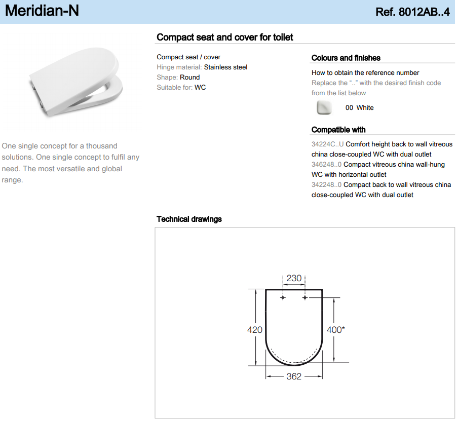 ROCA MERIDIAN COMPACT Toilet Seat /& Cover 8012AB004