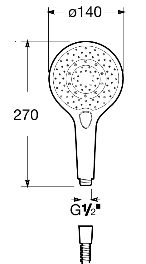 Roca Plenum Chrome Shower Head Round 5B1111C00 dimensions