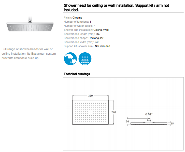 Roca Rainsense rectangular shower head 360x240mm 5B3050C00 spec
