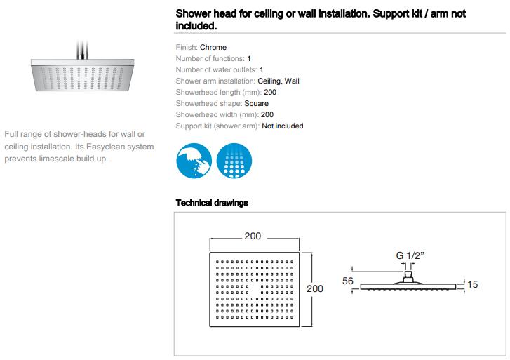 Roca Rainsense square shower head 200mm 5B2350C00 spec