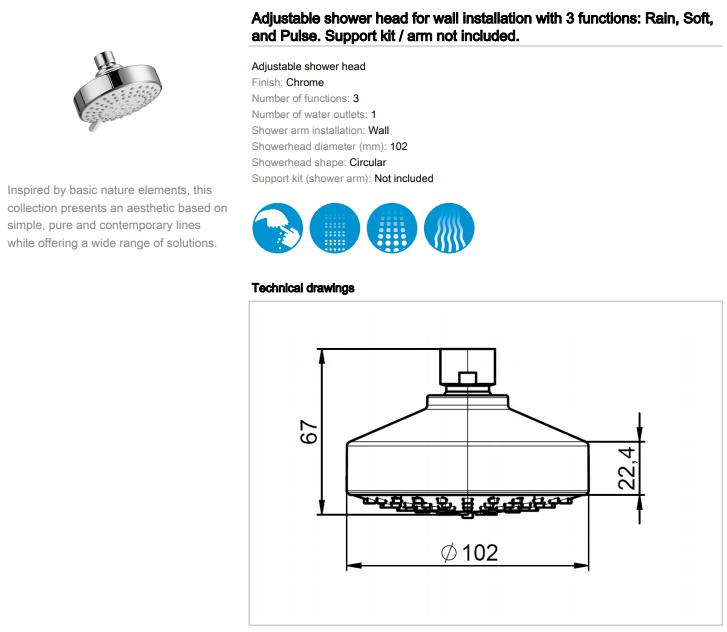Roca Stella Adjustable Shower Head 3 function 5BF103C00 spec
