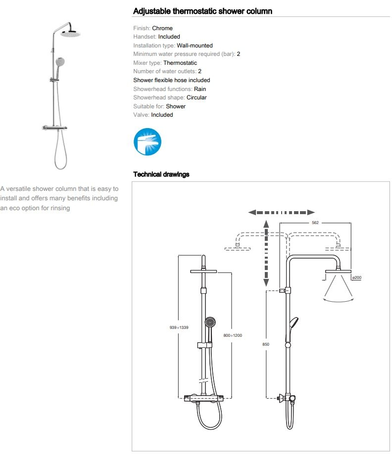 Roca Victoria Dual Outlet Bar Shower Rain and Varible Head 5A2018C00
