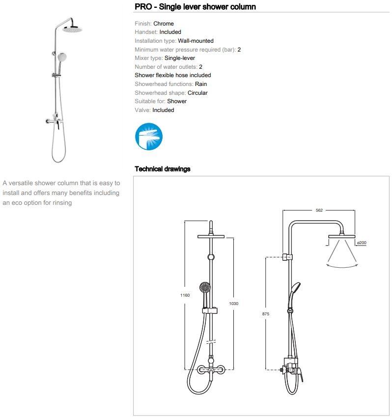 Roca Victoria Lever Valve Dual Outlet Bar Shower Rain and Varible Head 5A9725C00 spec
