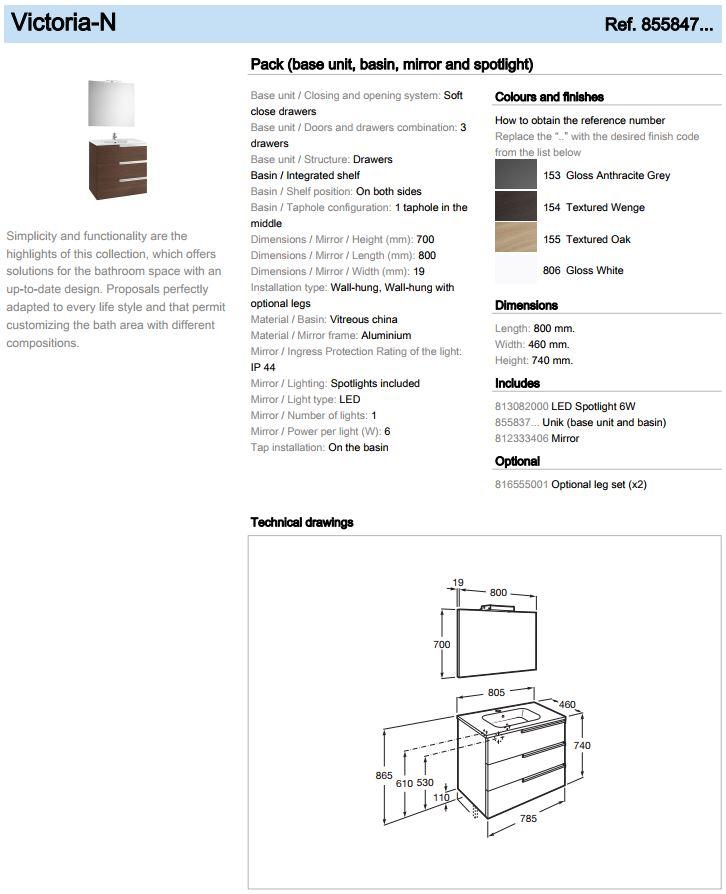 Roca Victoria N single 800 Base 3 drawers Unit 855847 spec