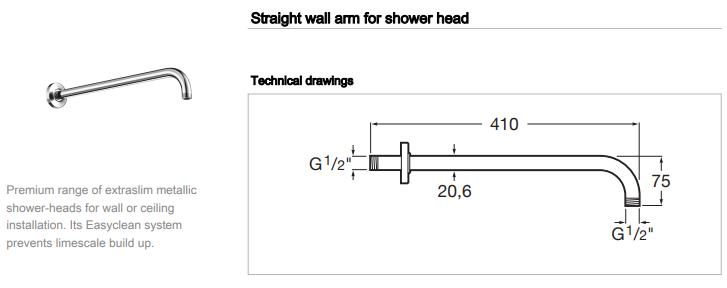 Roca wall Shower Arm 400mm 5B0250c00 Raindance Raindream and Wall spec