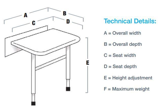 Shower Seat Dimension Details