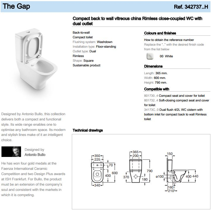 Roca The Gap Btw Rimless Close Coupled Wc And Cistern With