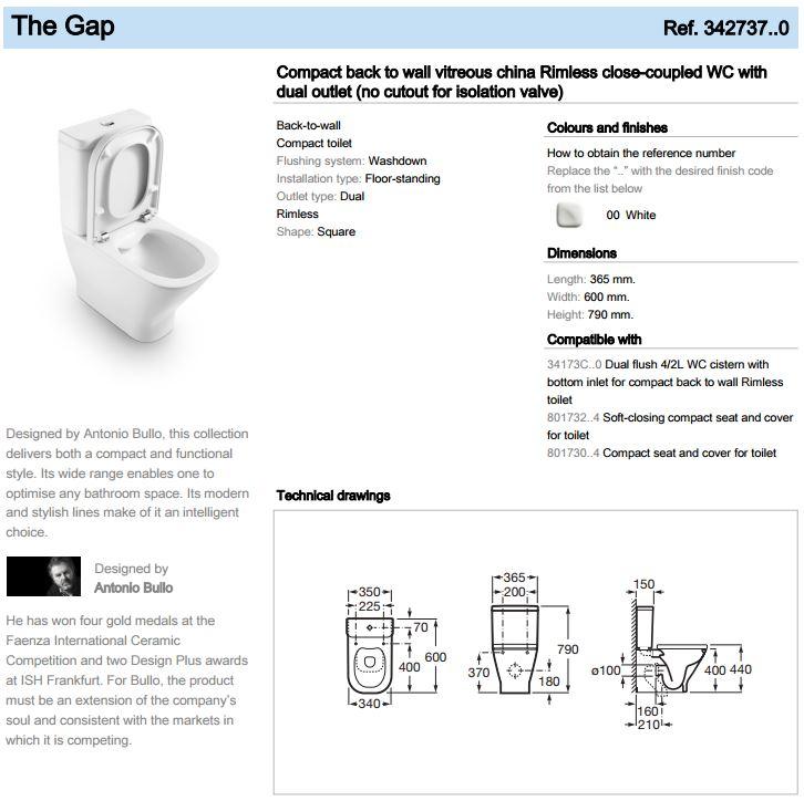 Roca The Gap Rimless CC WC and Cistern Spec