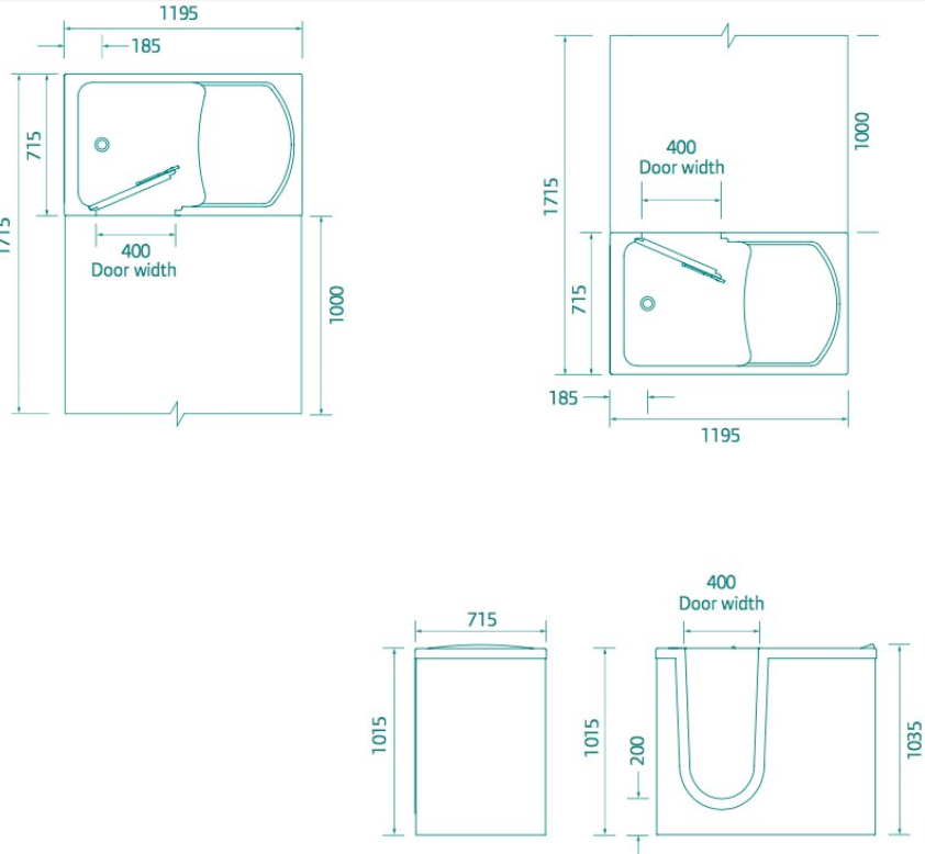Access Walk in Bath - OREGON - Technical drawing
