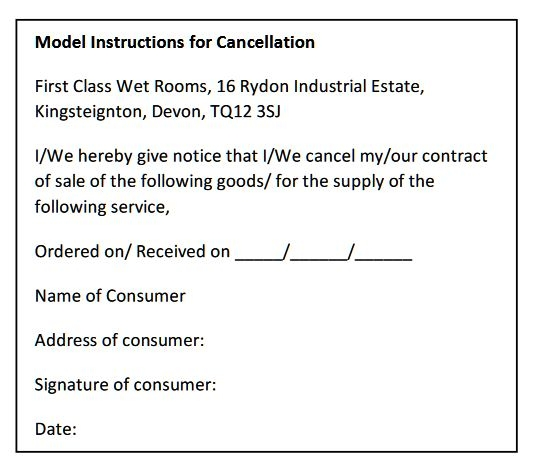 model instructions for Cancellation